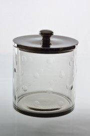 Fantastic Medium sized Barbara candy storage jar with dimples around the glass. Aluminium lid. Comes in three sizes. a) 14909- H13x21cm b)14910-H25x31cm c)14920- H33x21cm