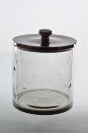 Fantastic Medium sized Barbara candy storage jar with dimples around the glass. Aluminium lid. Comes in three sizes. a) 14909- H13x21cm b)14910-H25x31cm c)14920- H33x21cm