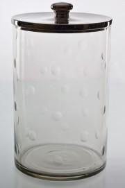 Fantastic large Barbara candy storage jar with dimples around the glass. Aluminium lid a) 14909- H13x21cm b)14910-H25x31cm c)14920- H33x21cm
